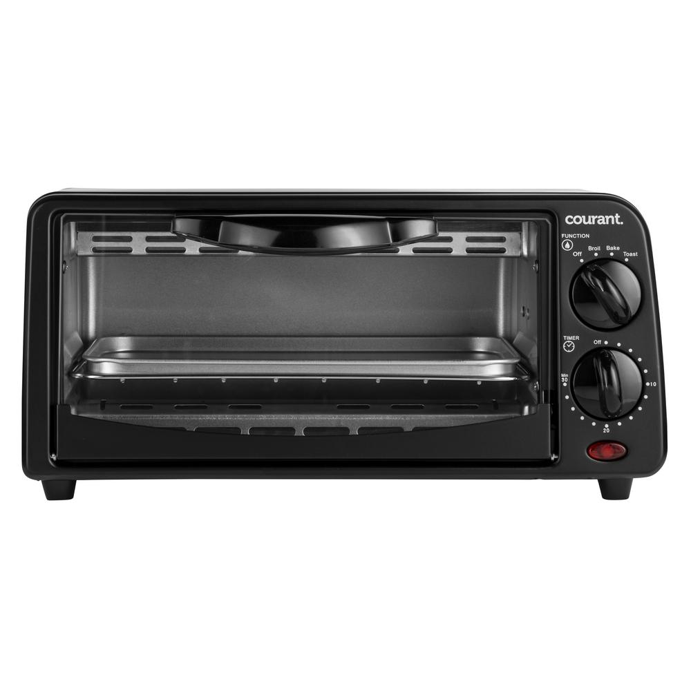 2-Slice Compact Toaster Oven with Bake Tray and Toast Rack in Black Our Courant Compact Toaster Oven is a great complement to small kitchens. Good for reheating small dishes such as pizza slices as well as making toast. Includes a 30-minute timer with end-of cycle alert. Can even be used for broiling. Color: Black.