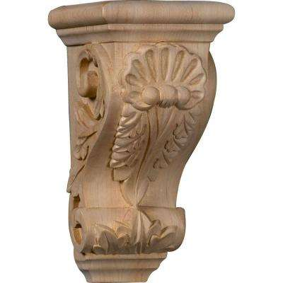 4 in. x 3-1/2 in. x 7 in. Unfinished Wood Alder Small Shell Corbel