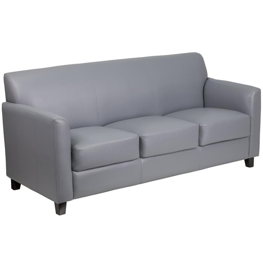 Hercules Diplomat Series Gray Leather Sofa
