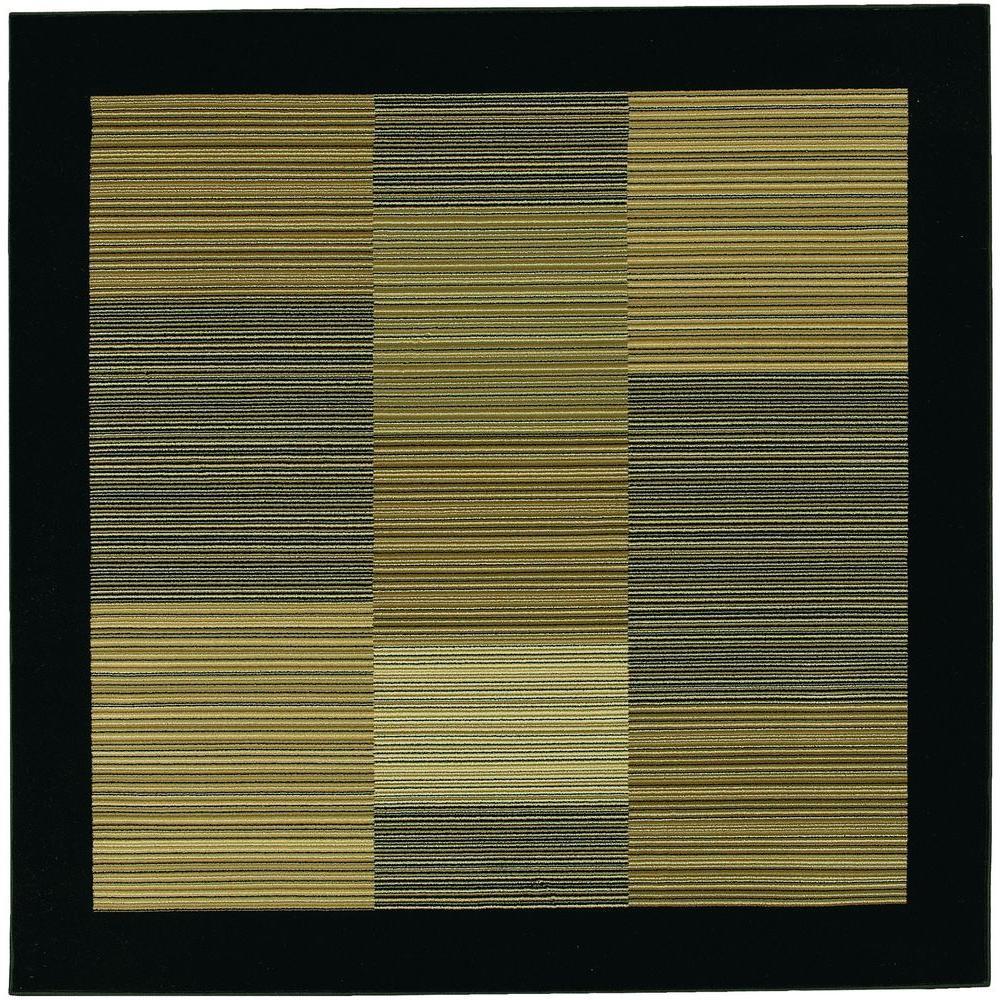 Everest Hampton's Multi Stripe Black 3 ft. 11 in. x 3 ft. 11 in. Square Area Rug