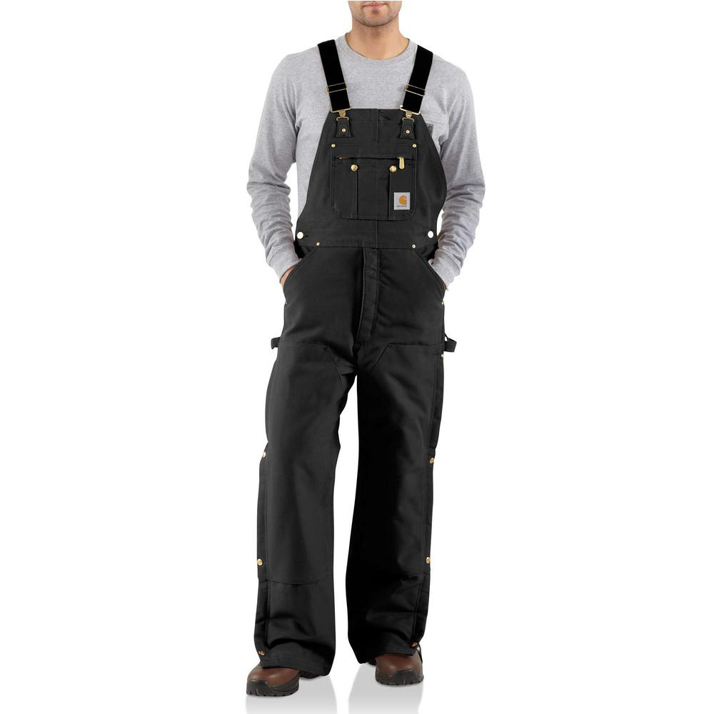 Carhartt Men'S 56 in x 30 in. Black Cotton Quilt Lined Zip To Thigh Bib Overalls