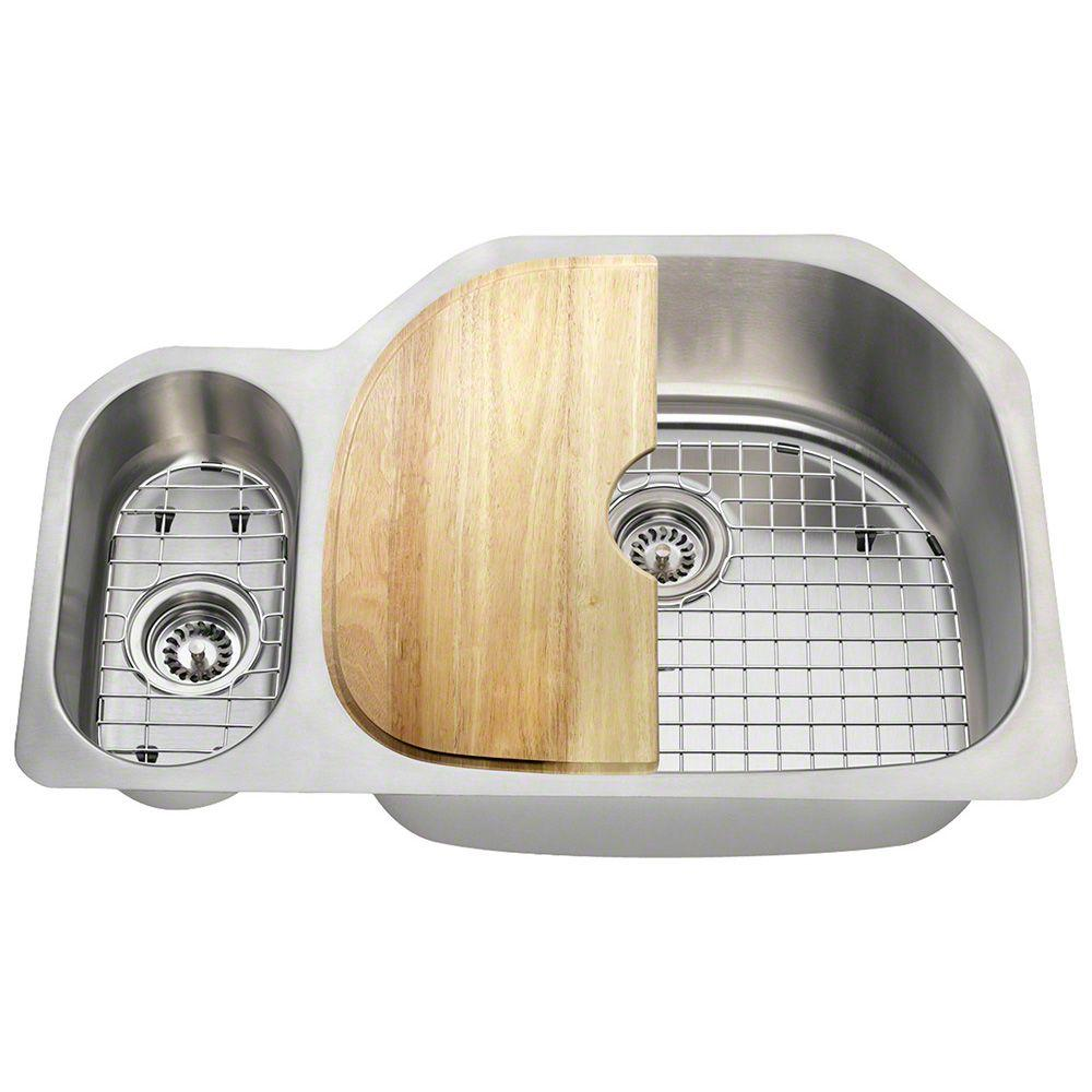 Reviews For Polaris Sinks Undermount Stainless Steel 32 In Double Bowl Kitchen Sink Kit Pr123 18 Ens The Home Depot