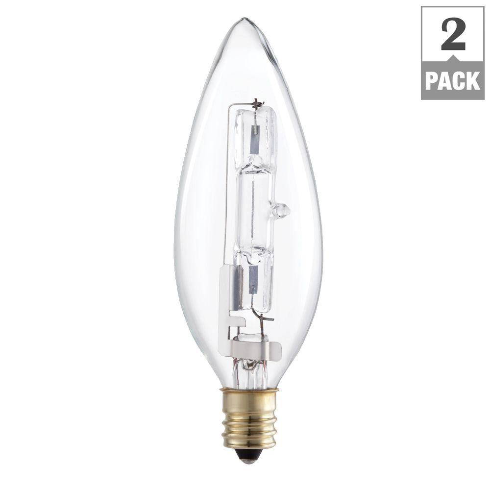 40 Watt Halogen Light Bulbs: Philips 40 Watt Equivalent Halogen B10.5 Blunt Tip Candle