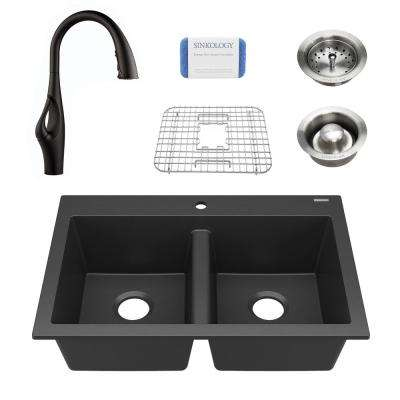 Whitney All-in-One Drop-In Granite Composite 33 in. 1-Hole Double Bowl Kitchen Sink with Pfister Faucet in Matte Black