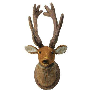 24 in. Brown and Gold Reindeer Head Christmas Wall Hanging