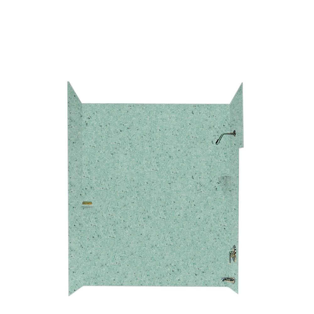 Swanstone 30 in. x 60 in. x 60 in. Five Piece Easy Up Adhesive Tub Wall in Tahiti Evergreen-DISCONTINUED