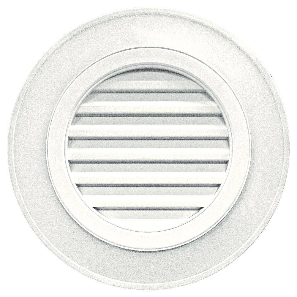 Builders Edge 28 in. Round Gable Vent in White (without Keystones)