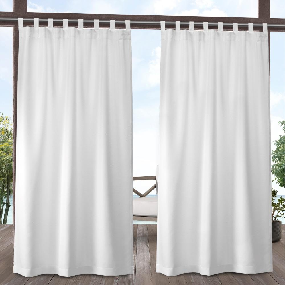 Exclusive Home Curtains Indoor Outdoor Solid 54 In W X 108 L Tab Top Curtain Panel Winter White 2 Panels