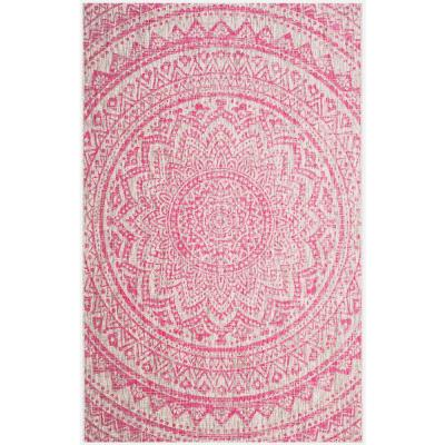 Medallion Light Gray/Fuchsia 5 ft. 3 in. x 7 ft. 6 in. Indoor/Outdoor Area Rug