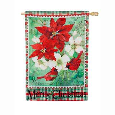 28 in. x 44 in. Christmas Floral House Suede Flag