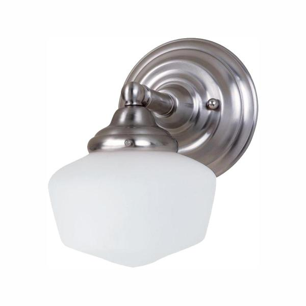 Academy 1-Light Brushed Nickel Sconce with LED Bulb