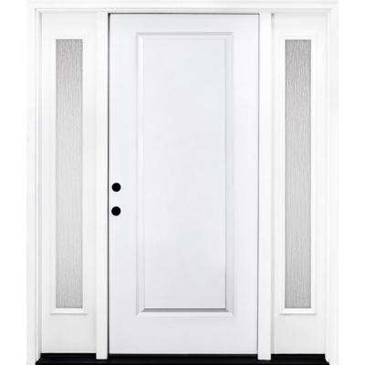 60 in. x 80 in. Classic 1-Panel RHIS Primed White Steel Prehung Front Door with Double 10 in. Rain Glass Sidelites
