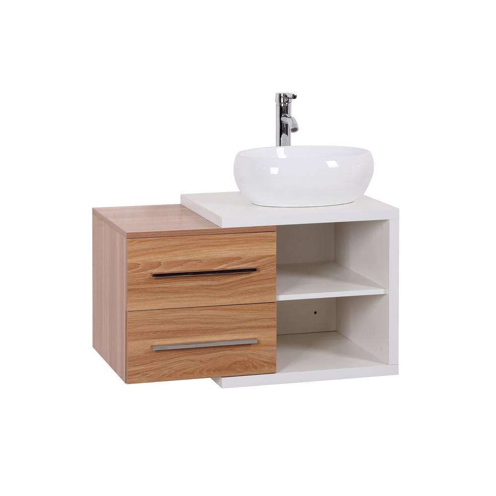 Decor Living Ella 32 In W X 19 In D Floating Vanity In Light Oak And White With Vitreous China