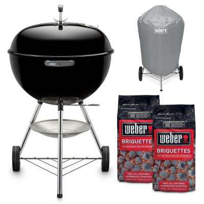 22 in. Original Kettle Charcoal Grill in Black Combo with Charcoal Grill Cover and 2 Bags of Weber Charcoal Briquettes