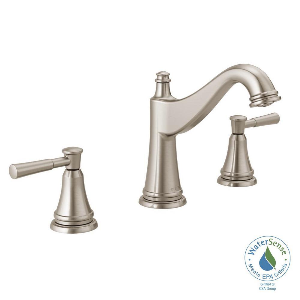 Delta mylan 8 in widespread 2 handle bathroom faucet in - Delta bathroom faucets brushed nickel ...