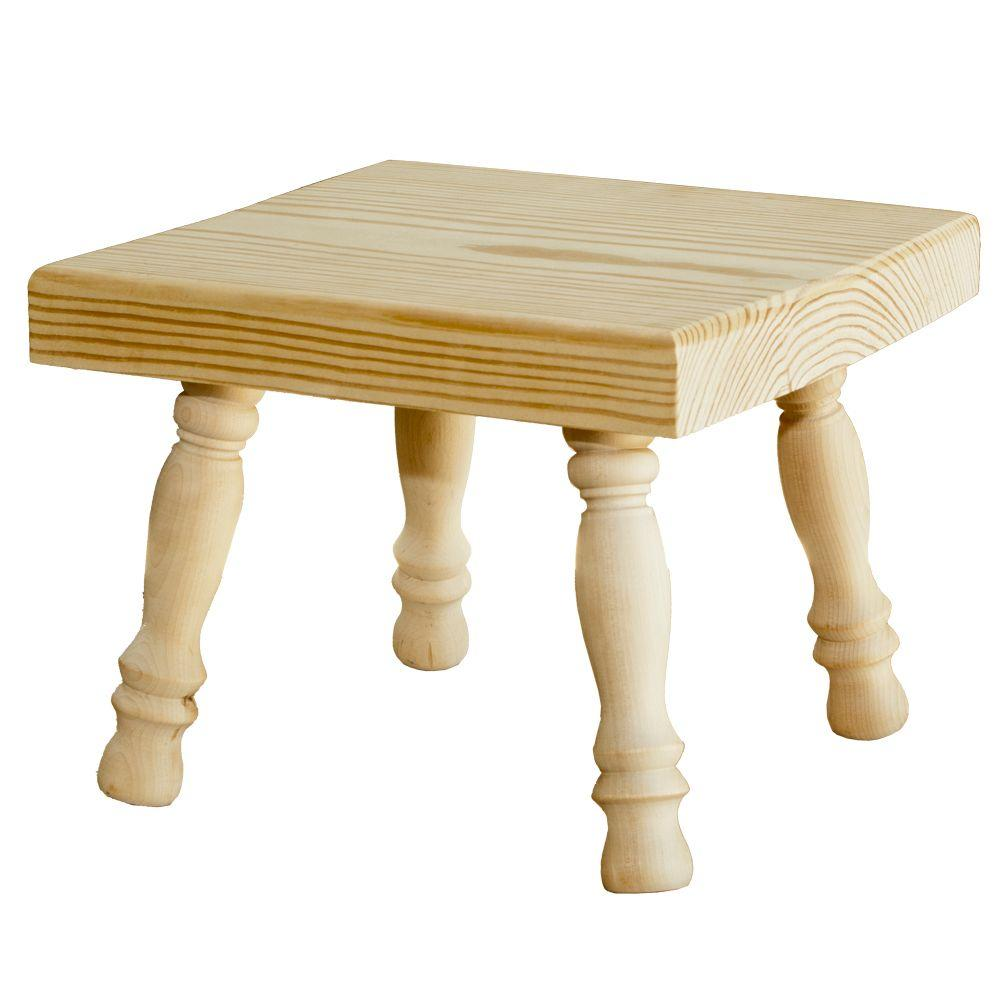 Houseworks Unfinished Wood Decor Square Stool with Turned Legs