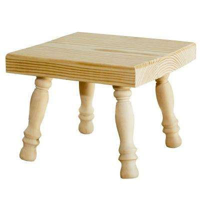 Unfinished Wood Decor Square Stool with Turned Legs