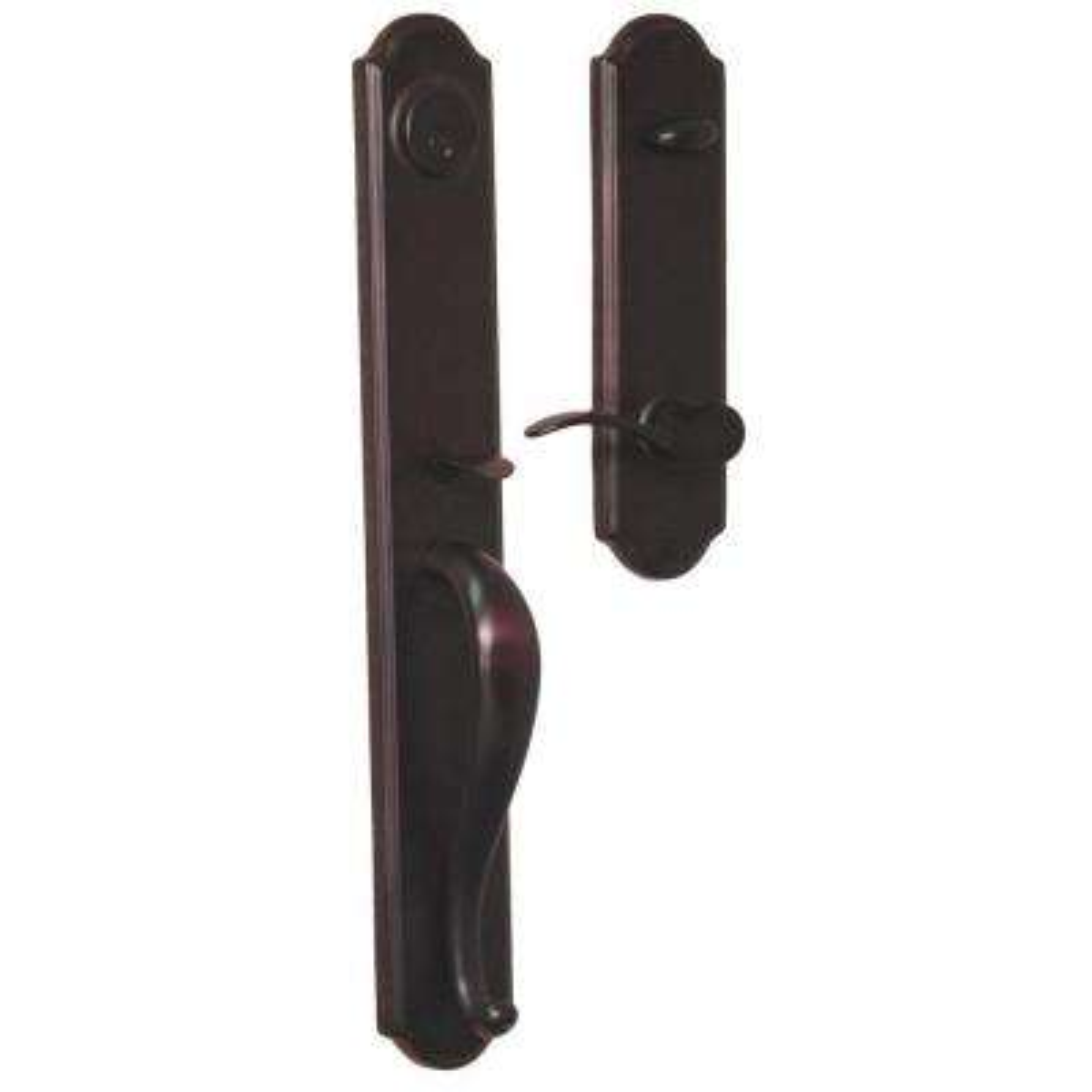 Elegance Single Cylinder Oil-Rubbed Bronze Right-Hand Philbrook Interconnect Door Handleset with Impresa Knob