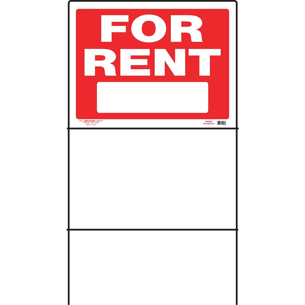 Everbilt 18 in. x 24 in. Plastic for Rent with Frame Sign