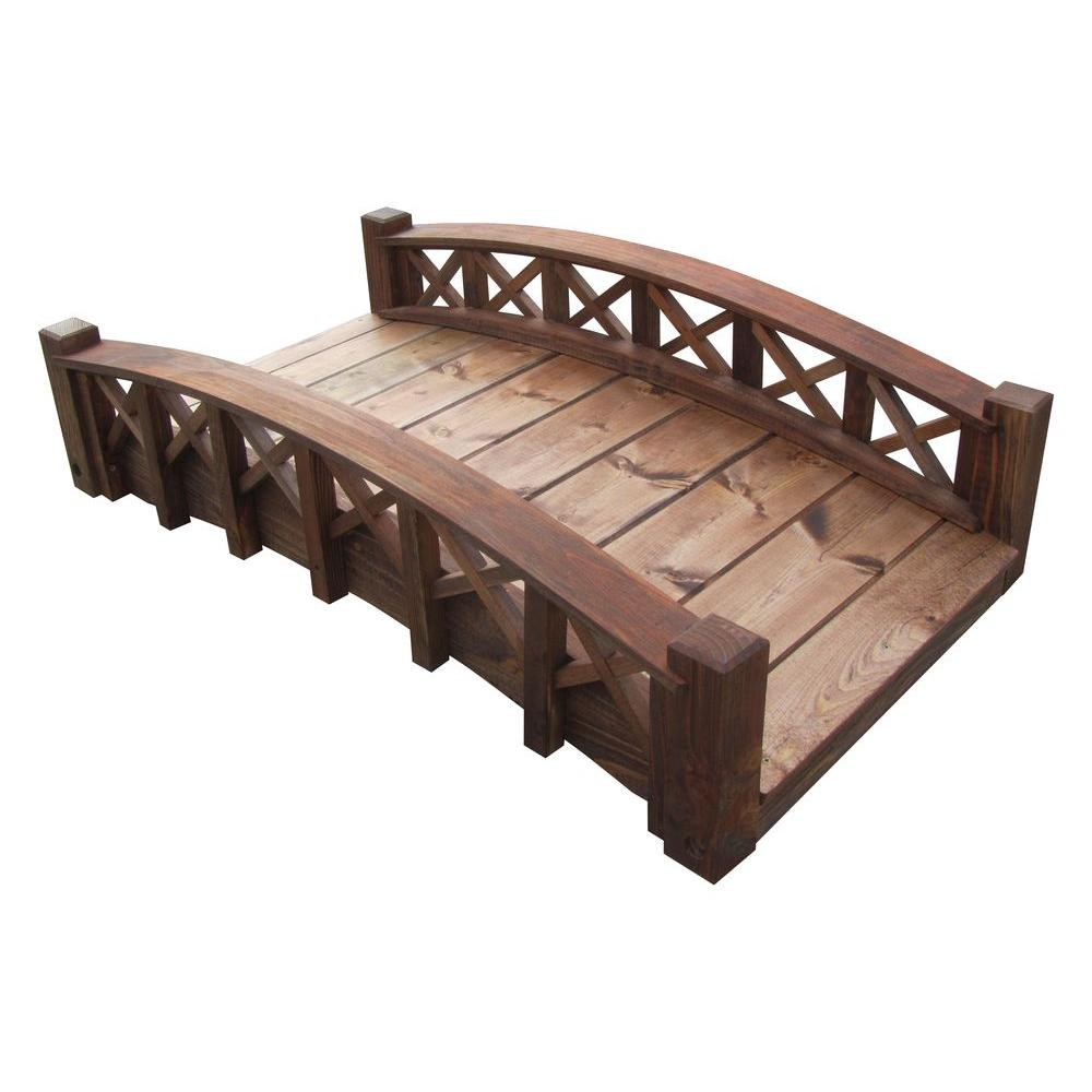 4 ft. Arched Wood Garden Swan Bridge with Cross Halved Lattice