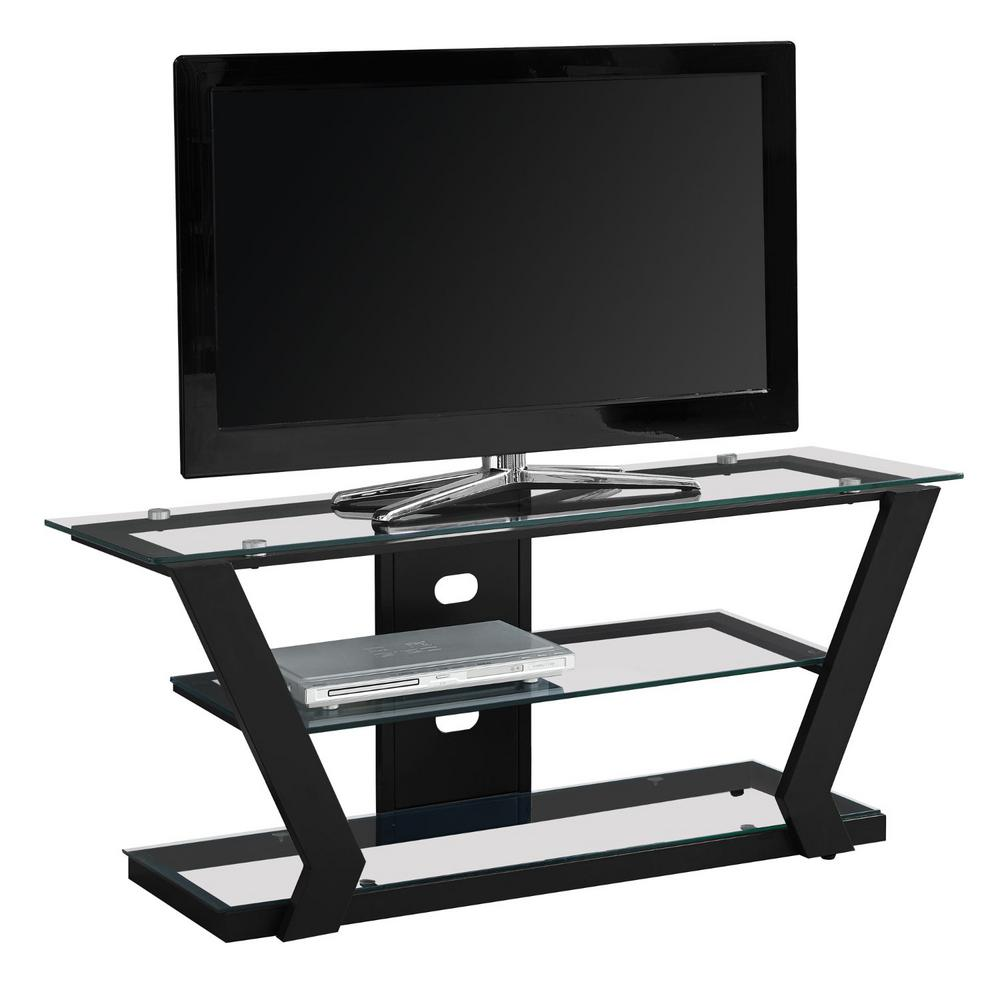 HomeRoots Jasmine 16 in. Black Glass TV Stand Fits TVs Up to 43 in. with Open Storage