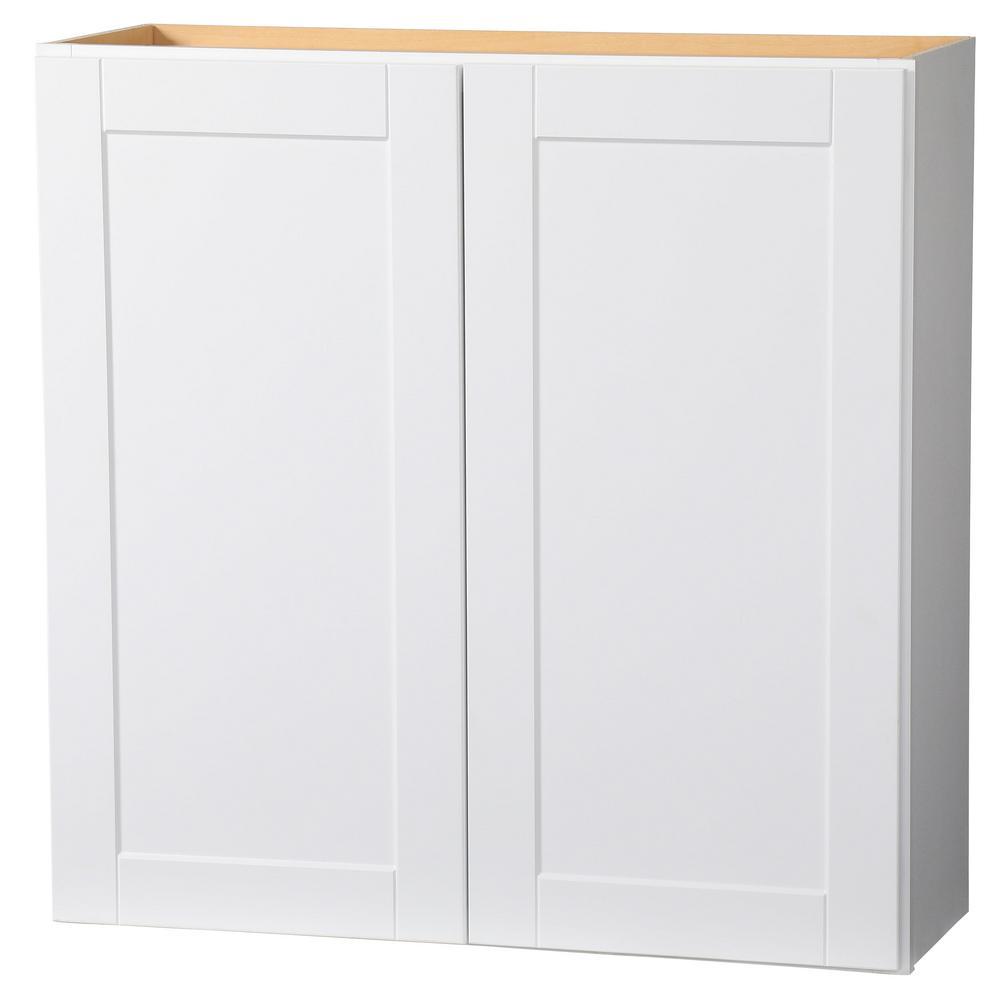 Hampton Bay Shaker Assembled 36x36x12 in. Wall Kitchen Cabinet in Satin White