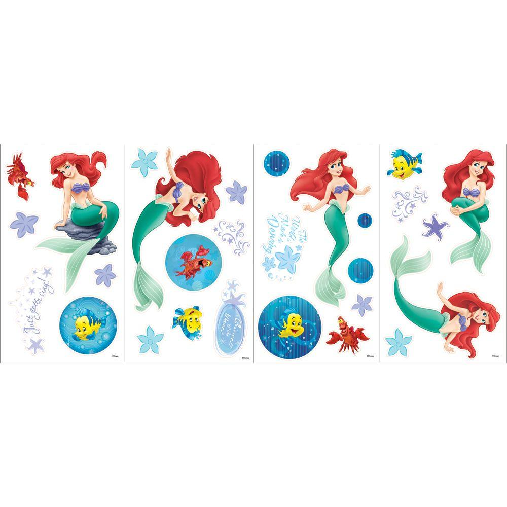 Disney 9.75 in. x 16.88 in. Brightly Colored Ariel Reflections Decal (4-Piece)-DISCONTINUED