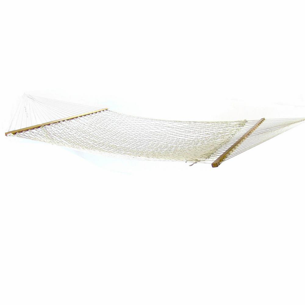 Sunnydaze Decor 12 ft. Polyester Rope Hammock Bed with Spreader Bars in Natural