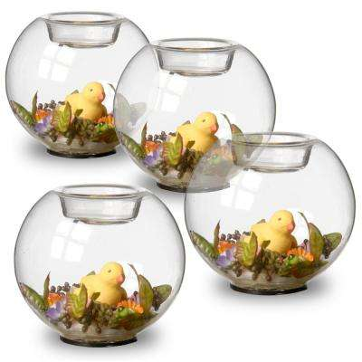 4 in. Round Glass Candle Holder with Duck and Mini Assorted Flowers (Set of 4)