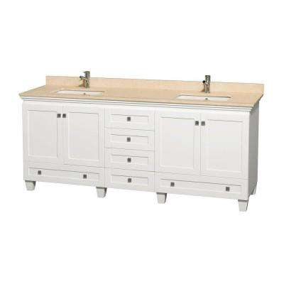 Acclaim 80 in. Double Vanity in White with Marble Vanity Top in Ivory and Square Sinks