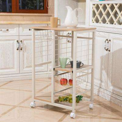 Natural Rolling Kitchen Island Cart