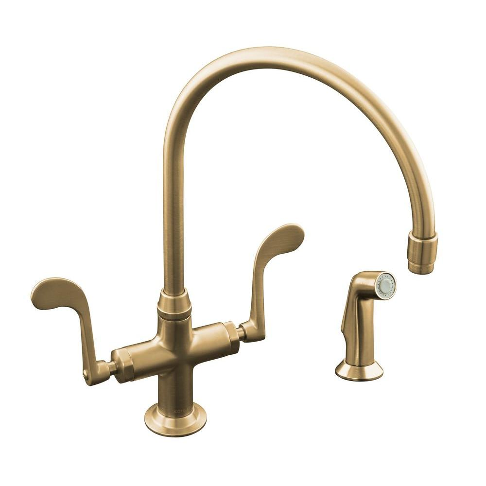 KOHLER Essex 2 Handle Standard Kitchen Faucet With Side Sprayer In Vibrant  Brushed Bronze