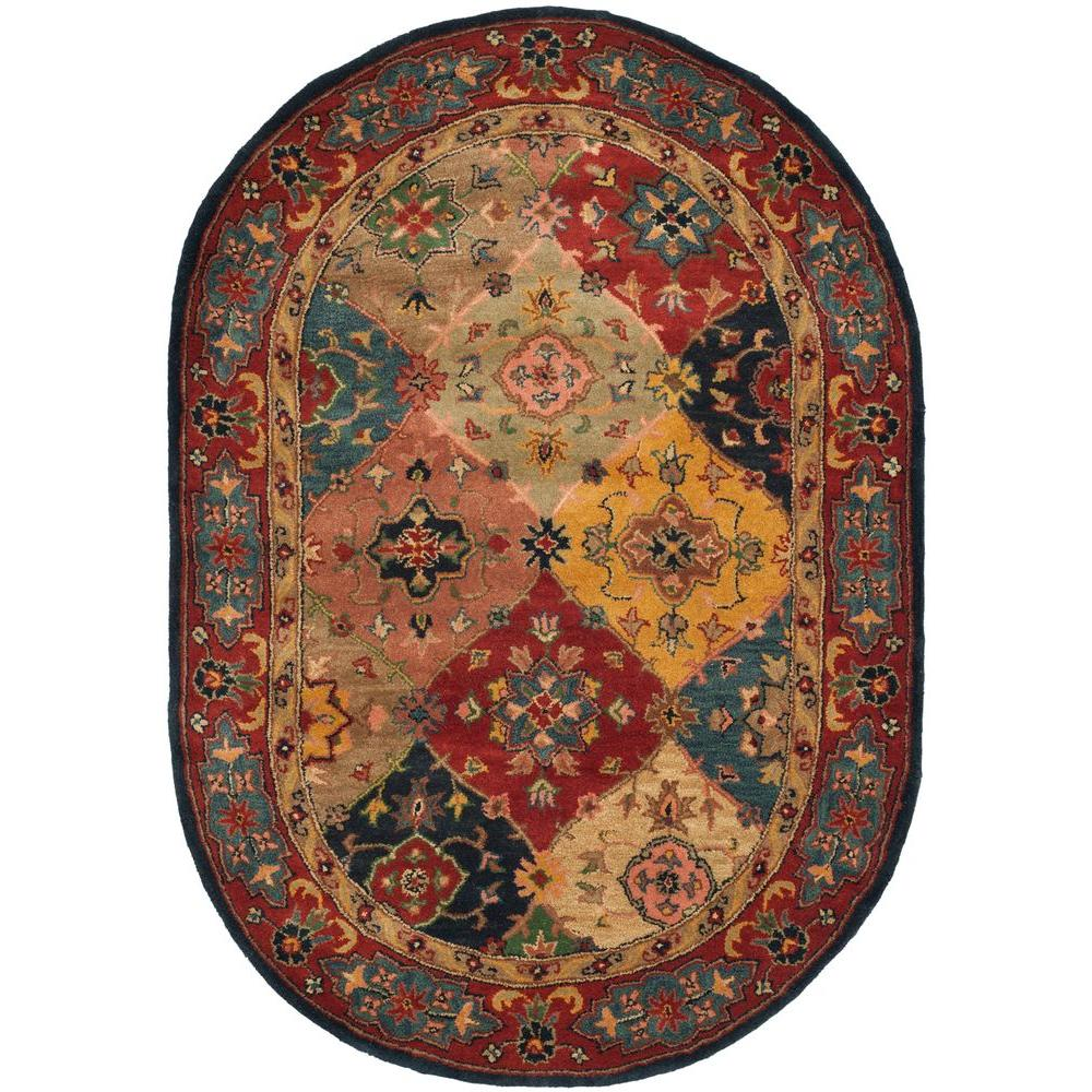 Safavieh Heritage Red/Multi 4 Ft. 6 In. X 6 Ft. 6 In. Oval