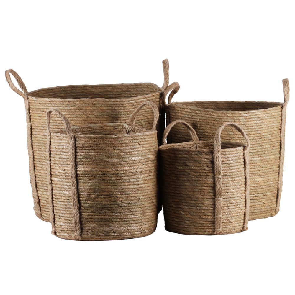 Round Maise Natural Brown Decorative Basket (Set of 4)
