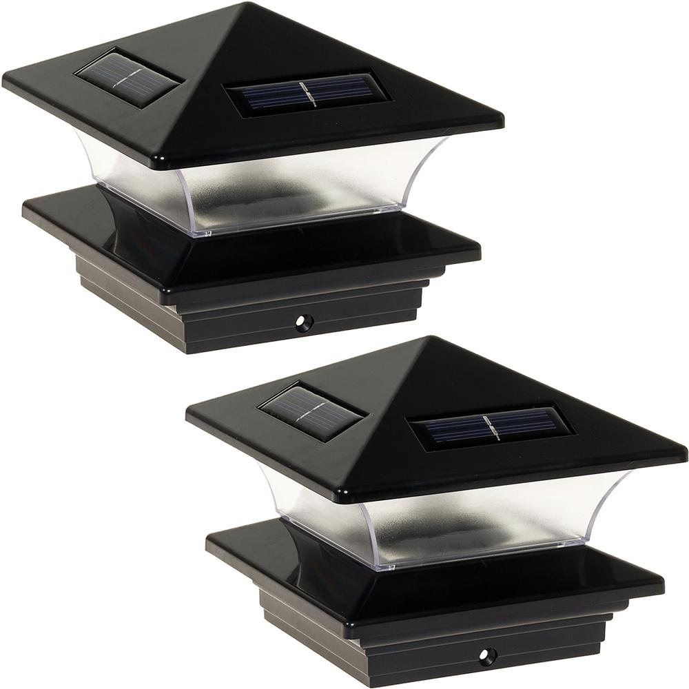 4 in. x 4 in. Solar Powered Integrated LED Black Plastic