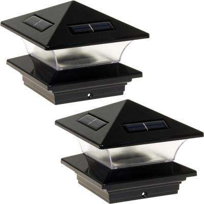 4 in. x 4 in. Solar Powered Integrated LED Black Plastic Post Cap Light for Nominal Wood Posts (2-Pack)
