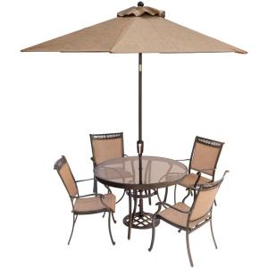 Hanover Fontana 5-Piece Aluminum Round Outdoor Dining Set with Glass-Top Table,... by Hanover