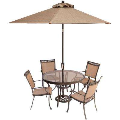 Fontana 5-Piece Aluminum Round Outdoor Dining Set with Glass-Top Table, Umbrella and Base
