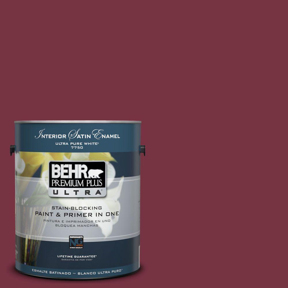 BEHR Premium Plus Ultra 1-Gal. #UL100-4 Cranberry Interior Satin Enamel Paint
