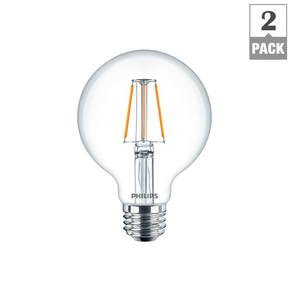 Philips 40 Watt Equivalent G25 Dimmable LED Light Bulb Clear Glass With Warm  Glow Effect