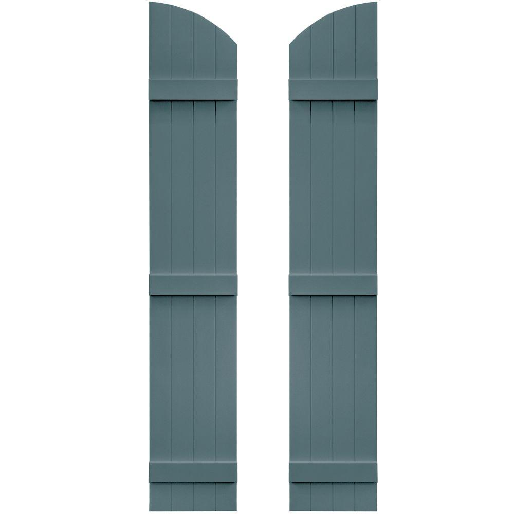 Builders Edge 14 in. x 77 in. Board-N-Batten Shutters Pair, 4 Boards Joined with Arch Top #004 Wedgewood Blue