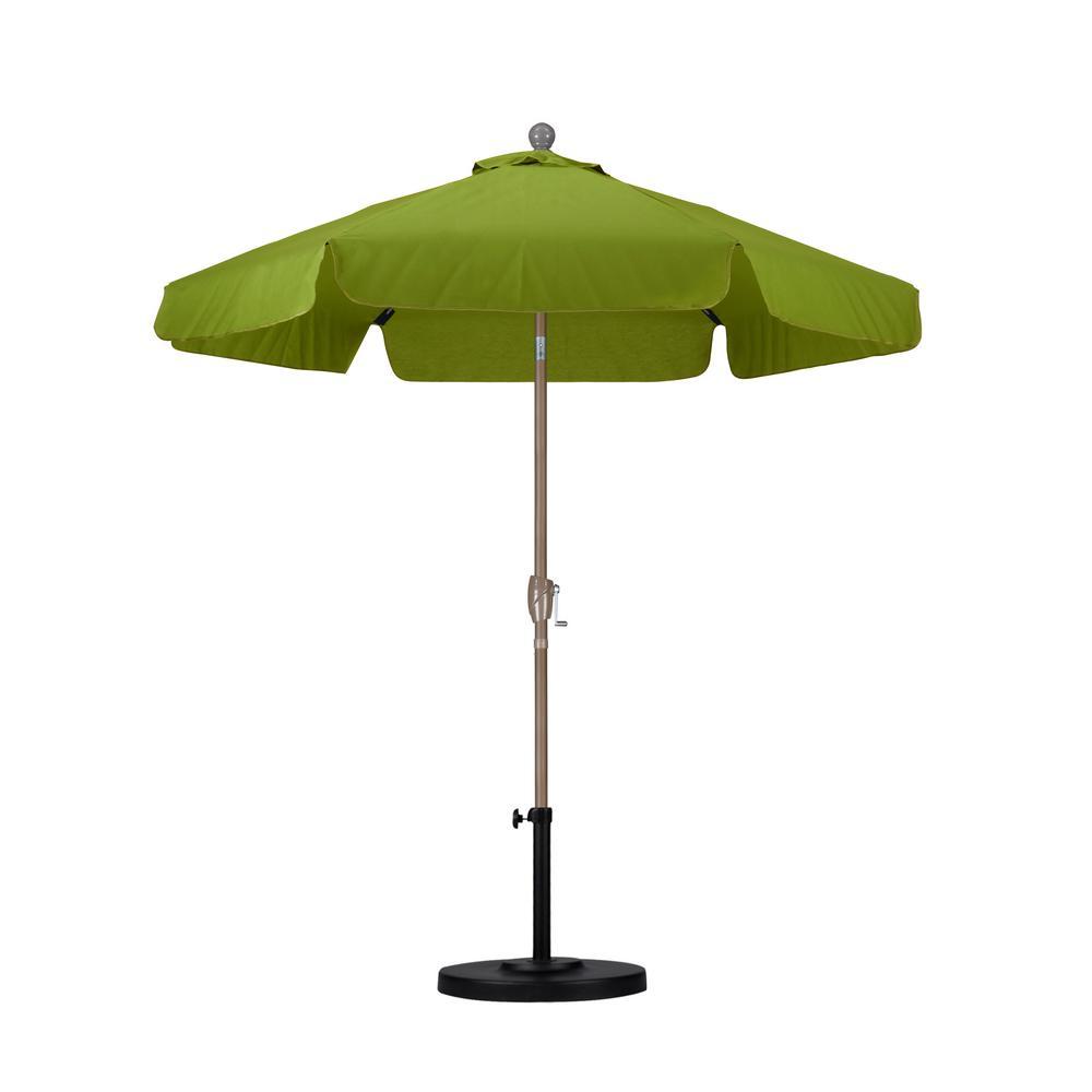 California Umbrella 7 1/2 Ft. Fiberglass Push Tilt Patio Umbrella In Palm
