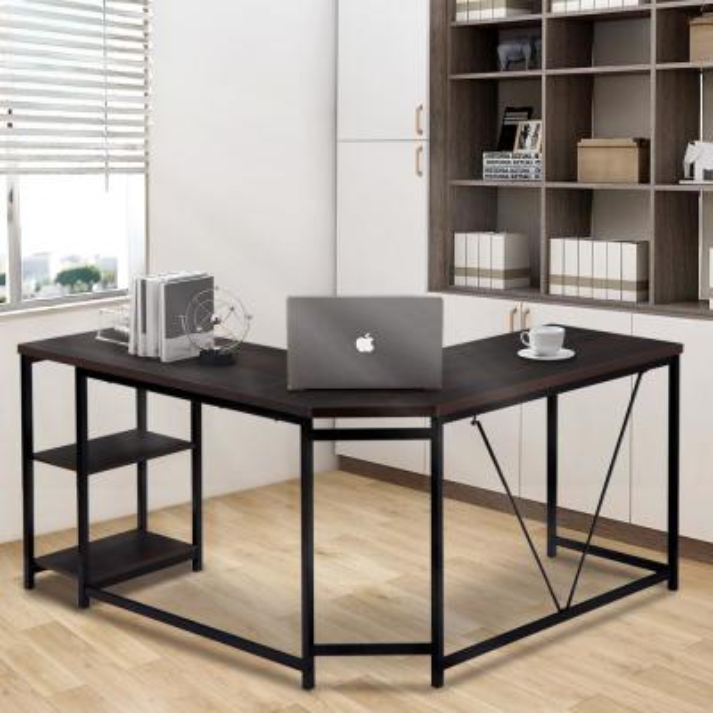 Black L-Shaped Computer Desk with 2-Tier Storage Shelves