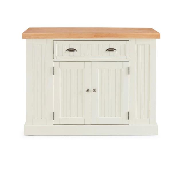 Nantucket White Kitchen Island with Wood Top