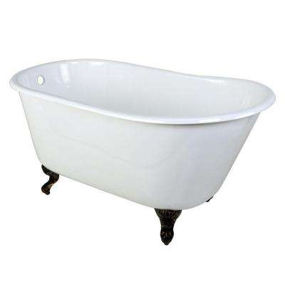 Cast Iron Oil Rubbed Bronze Claw Foot Petite Slipper Tub In White