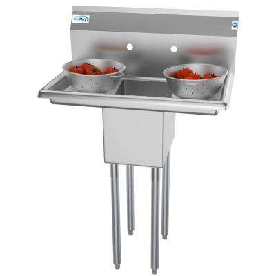Freestanding Stainless Steel 30 in. 2-Hole Single Bowl Commercial Kitchen Sink