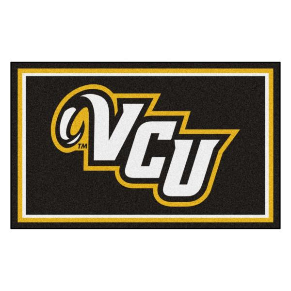 NCAA - Virginia Commonwealth University Black 6 ft. x 4 ft. Indoor Rectangle Area Rug