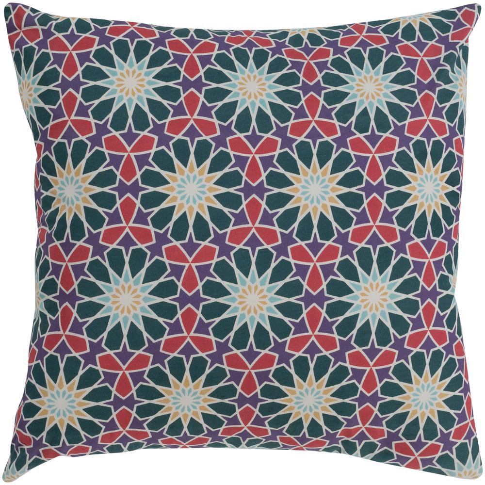 Millaray Green Geometric Polyester 22 in. x 22 in. Throw Pillow