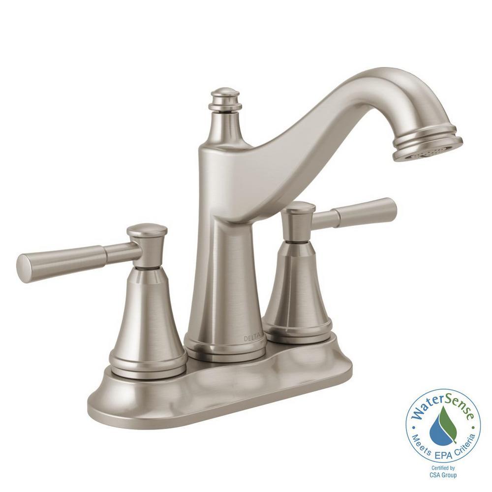 Mylan 4 in. Centerset 2-Handle Bathroom Faucet in SpotShield Brushed Nickel