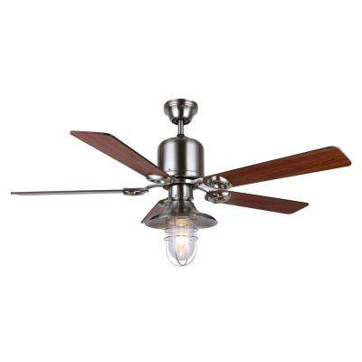Sawyer 48 in. Brushed Nickel Ceiling Fan with 5-Reversible Blades and Clear Glass